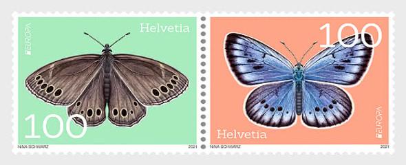SWITZERLAND  (2021)- EUROPA- ENDANGERED SPECIES- BUTTERFLIES (2V)