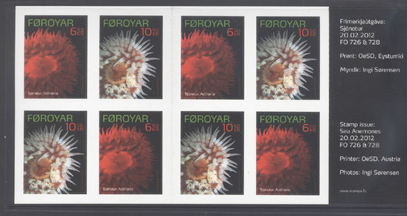 FAROE ISLAND (2012)- Sea Anemones Booklet- 8 self-adhesives