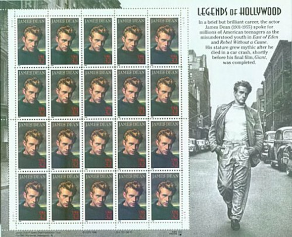 LEGENDS OF HOLLYWOOD COLLECTION- 5 SHEETS- MONROE,DEAN, ETC!