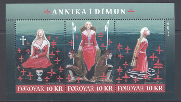 FAROE ISLAND- Annika I Dimun- Sheet of 3- legend