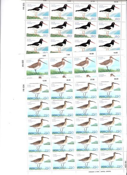 FAROE ISLANDS (1977): Birds- Sheets of 20