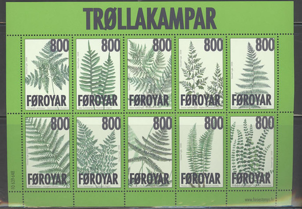 FAROE ISLANDS (2008) - Ferns- sheet of 10