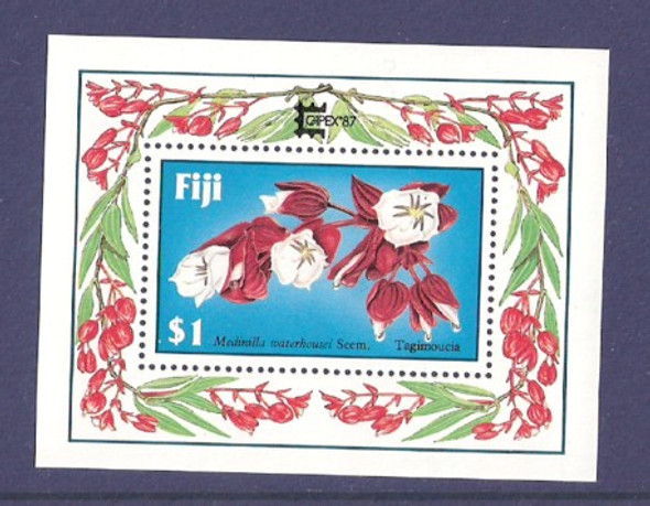 FIJI (1987): TAGIMOUCIA FLOWER SHEET W/CAPEX  OVERPRINT