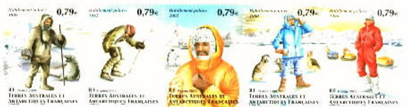 FR. ANTARCTIC (2003)- Polar Clothing, booklet of 5 - Seal, Penguin, Dogs, Sled