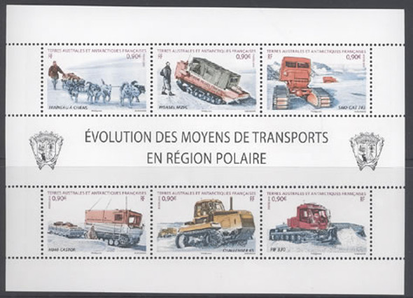 FR. ANTARCTIC(2010)- Transportation in the Polar Region- Sheet of 6- dogs