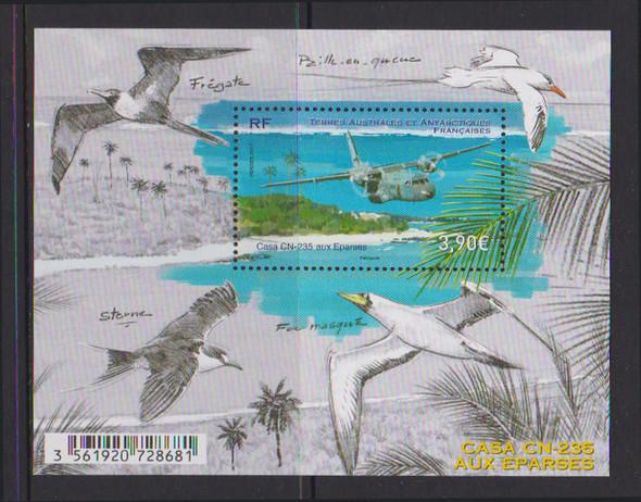 FR. ANTARCTIC- Airplane Casa CN-235- souvenir sheet- birds in border