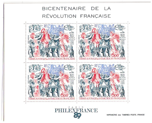 FR. ANTARCTIC- PHILEXFRANCE '89 SOUVENIR SHEET