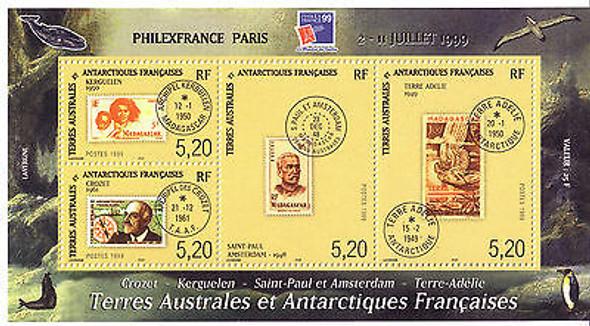 FR. ANTARCTIC- Philexfrance 99 Sheetlet of 4 - Stamp on Stamp