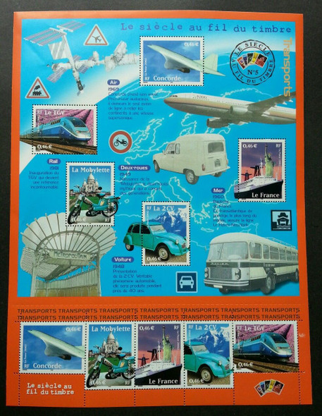 FRANCE (2002 ) Century of Transportation Sheetlet of 10 - Concorde, Train,