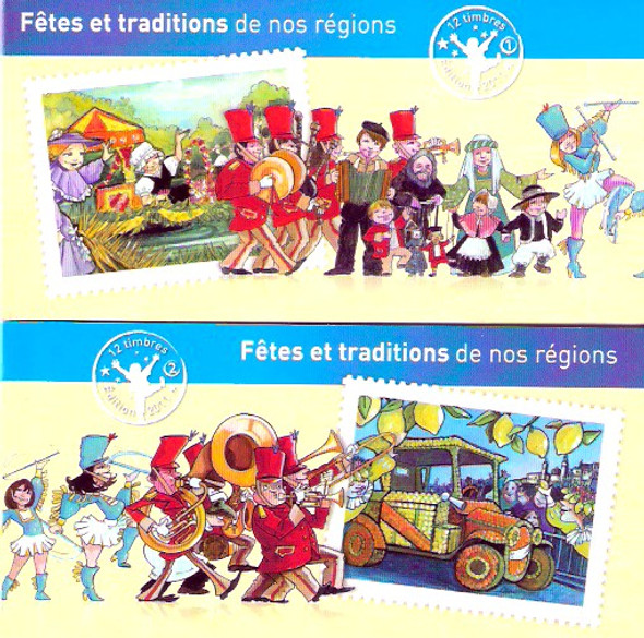 FRANCE (2011): Regional Festivals and Traditions  Booklets (2)- 24 stamps