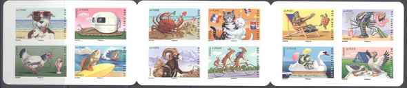 FRANCE (2014)  Vacation Booklet of 12 values- Cartoons- Dog,Cat,Fish