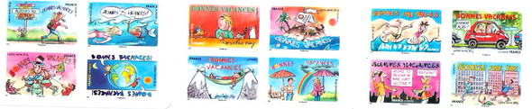 FRANCE (2015) : Vacation Booklet-12 self-adhesives- cartoons