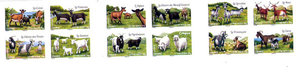 FRANCE:(2014)  Goats Booklet-12 values (self-adhesives)