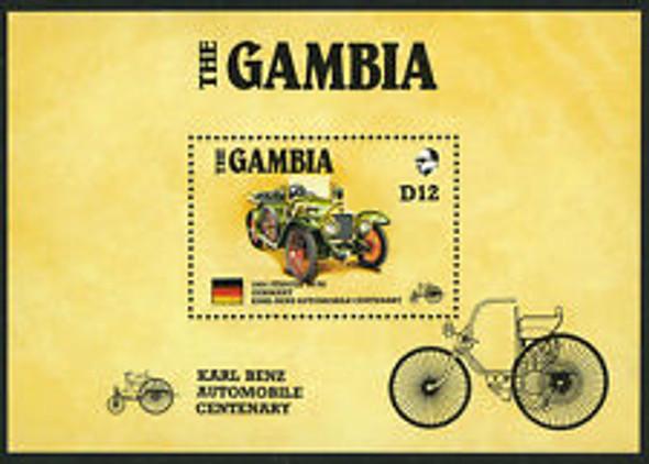 GAMBIA (1986) MNH. Karl Benz Automobile Centenary, AMERIPEX SS