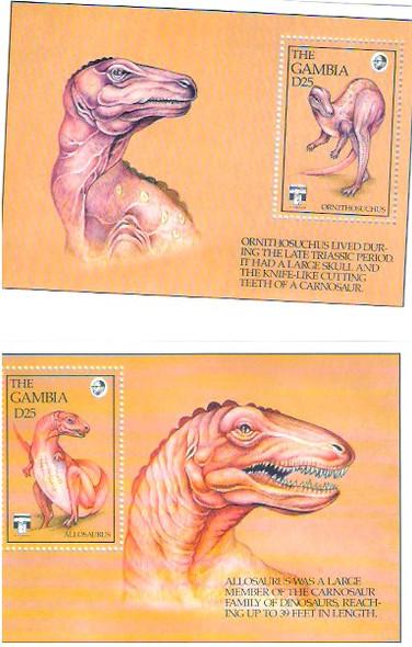 GAMBIA (1992)- Dinosuars- 2 souvenir sheets for Genoa Expo