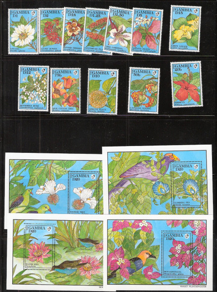 GAMBIA (1992)- FLOWERS & BIRDS- 12 VALUES & 4 SHEETS