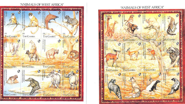 GAMBIA (1993)- Animals of West Africa Sheets (2)- 24 values