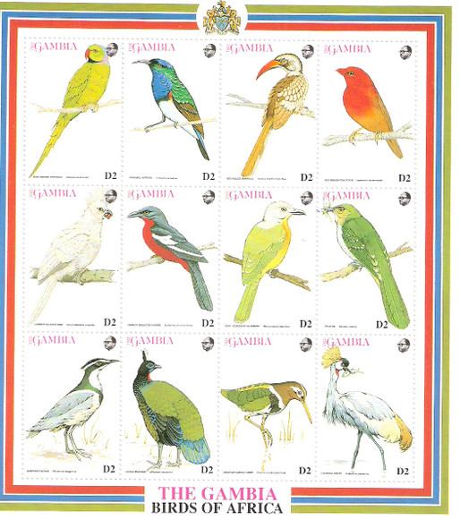 GAMBIA (1993)- BIRD SHEET OF 12 VALUES