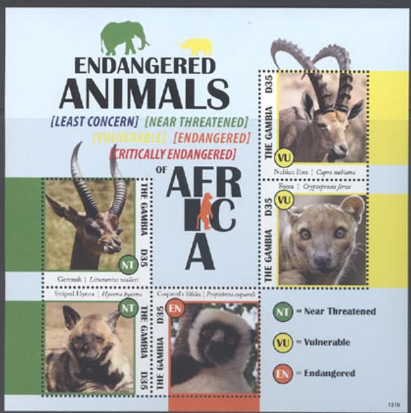 GAMBIA (2013) - Endangered Animals- Sheet of 5- ibex- hyena- lemur- fossa