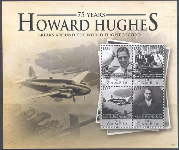 GAMBIA (2013)- Howard Hughes Breaks World Flight Record- Sheet of 4
