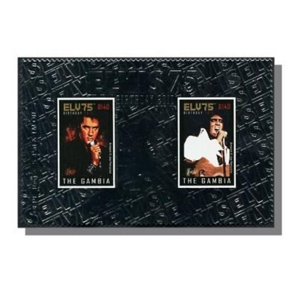 GAMBIA- Elvis 75th Birthday 2010- souvenir sheet- silver foil