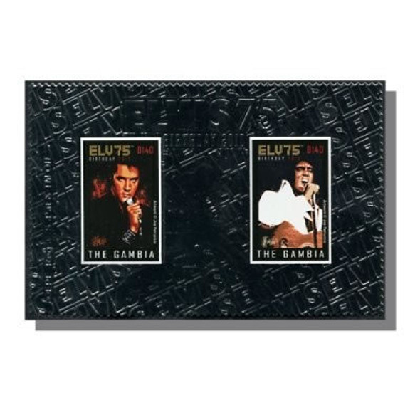 GAMBIA- Elvis 75th Birthday 2010- souvenir sheet- silver foil