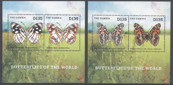 GAMBIA: Butterflies 2014- Sheets of 2- Amer Painted Lady- Thick rimmed Sailor