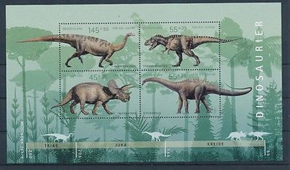 GERMANY (2008)- Dinosaurs Sheet of 8 values (semi-postals)