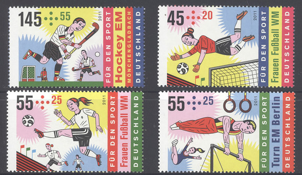 GERMANY (2011)- Sports- semipostal- soccer- gymnastics- field hockey (4)