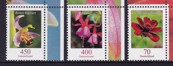 GERMANY (2016): Flora Definitives- 450 Orchid- 400 Fuschia- 70 Cosmos (3)