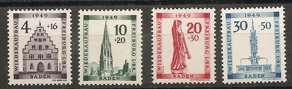Germany Baden Occupation 5NB5-8 1949 Freiburg set NH
