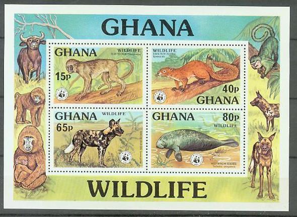 GHANA (1977): WWF ENDANGERED WILDLIFE SHEETLET OF 4