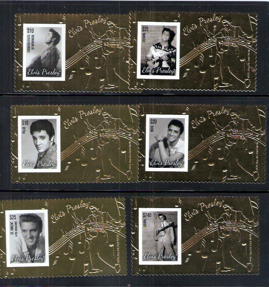 ELVIS PRESLEY- GOLD FOIL STAMP COLLECTION- 6 COUNTRIES!