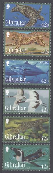 GIBRALTAR (2013) -Endangered Animals- penguin,  turtle, cheeta, etc. (6)
