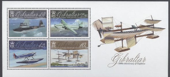 GIBRALTAR- Aviation Centenary- souvenir sheet- Sheet of 4- seaplanes