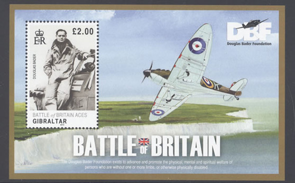 GIBRALTAR- Battle of Britain- souvenir sheet- Douglas Bader