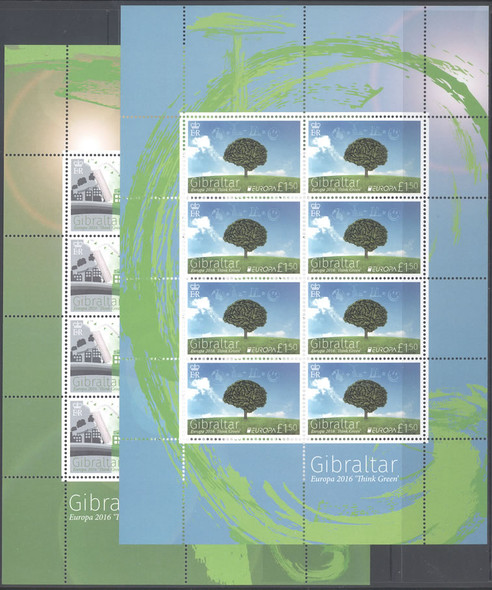 GIBRALTAR- Europa 2016 Think Green- mini-sheet of 8