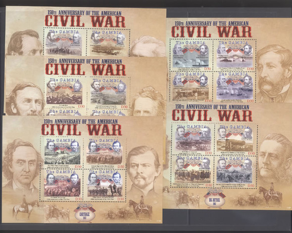 Gambia: GAMBIA (2011)- Civil War Anniversary Sheets (5)- Aqua Creek Big Bethel Boonville Carthage Hokes Run (5)