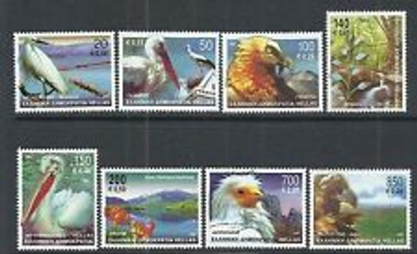 GREECE (2001) Birds Flowers Vulture Pelican ( 8v)