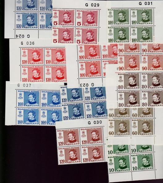 GREENLAND (1973-9) Queen Margrethe BLOCKS (12v)
