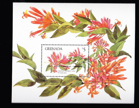 GRENADA (1984) Orange Trumpet Vine SS Sheet