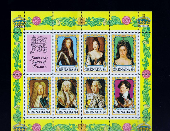 GRENADA (1985) Kings Queens Of Britain Sheet of 7