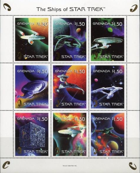 GRENADA (1999)- Ships of Star Trek Sheet of 9 values