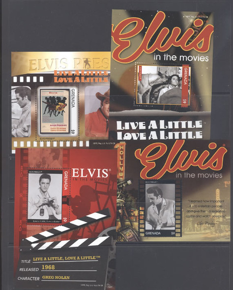 GRENADA (2012)- Elvis in the Movies - souvenir sheets- Live a Little Love a Little (4)