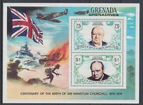 GRENADA GRENADINES (1974) CHURCHILL Birth Centenary,  War