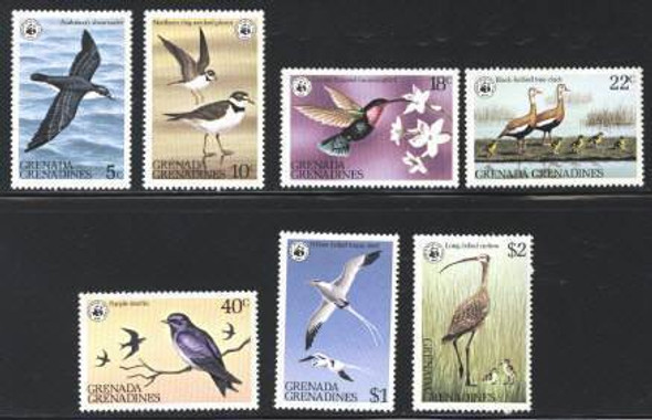 GRENADA GRENADINES (1978)- WWF BIRDS (7 VALUES)