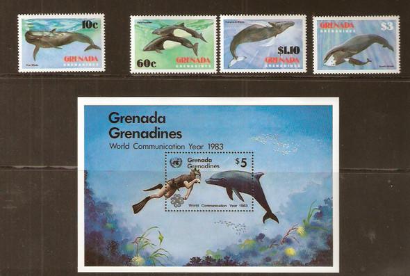 GRENADA GRENADINES (1983)- WHALES & DIVER -4v - SHEET