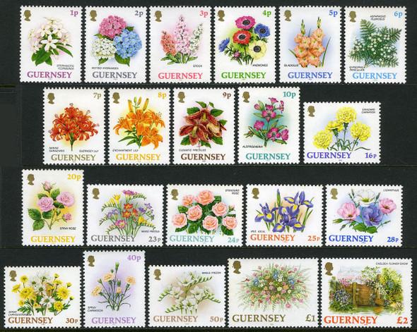 GUERNSEY (1993-5)- FLOWER DEFINITIVES- 22 VALUES- Catalog value =$36.50!