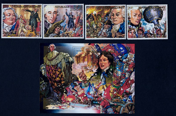 GUINEA (1989) Philexfrance French Revolution Set w/ Sheet