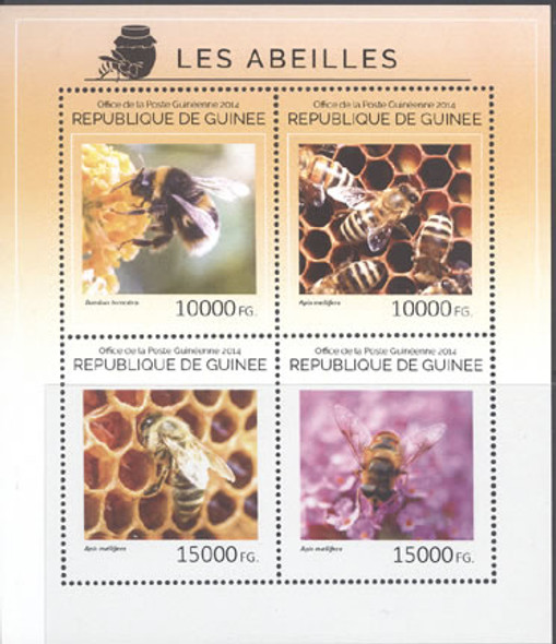 GUINEA (2014) : Bees- Sheet of 4